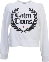 DSQUARED2 White Cotton Sweatshirt With Black Print