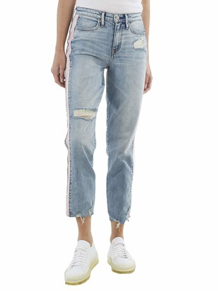 True Religion Women's Contrast Cropped High Rise Straight Leg Jean