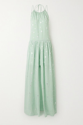 Amiri Metallic Fil Coupe Silk-blend Chiffon Halterneck Maxi Dress - Mint