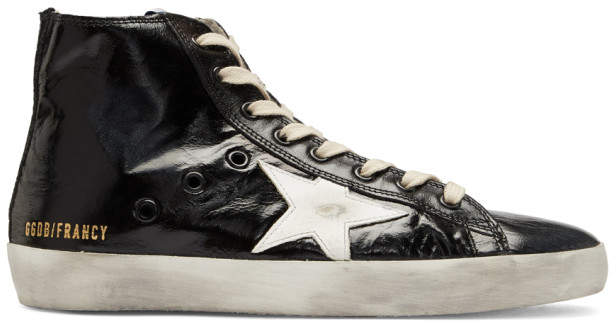 Golden Goose Black Shiny Francy High-Top Sneakers