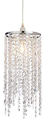 clear Illuminate Amarah Classic And Elegant Easy Fit With Long Chains Of Cut Crystal Glass Droppers On A Chrome Frame, Clear, Chrome