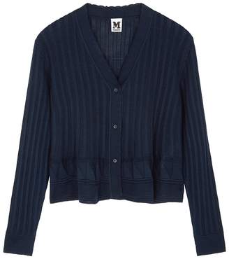 M Missoni Navy Ribbed Wool-blend Cardigan