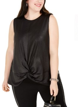 INC International Concepts Inc Plus Size Snakeskin-Textured Knot-Hem Top, Created For Macy's