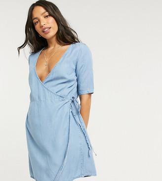 Asos Tall ASOS DESIGN Tall soft denim wrap smock dress in blue