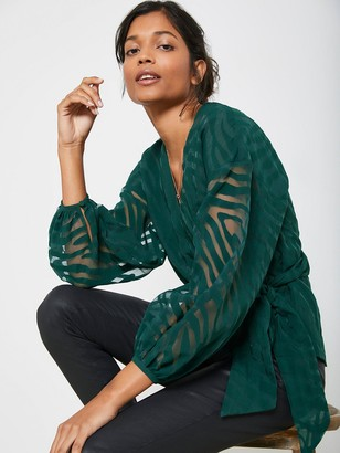 Mint Velvet Animal Wrap Top - Green