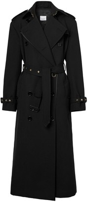 Burberry Silk Satin Panel Wool Loop-back Trench Coat
