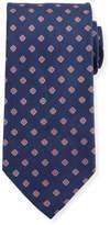 Eton Flower Neat Twill Tie, Blue/Pink