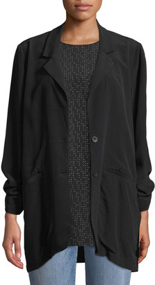 Eileen Fisher Long Crepe Two-Button Blazer