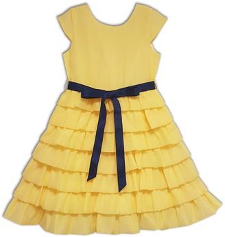 Joe Ella Audrey Organza Tiered Sash Dress (Little Girls & Big Girls)