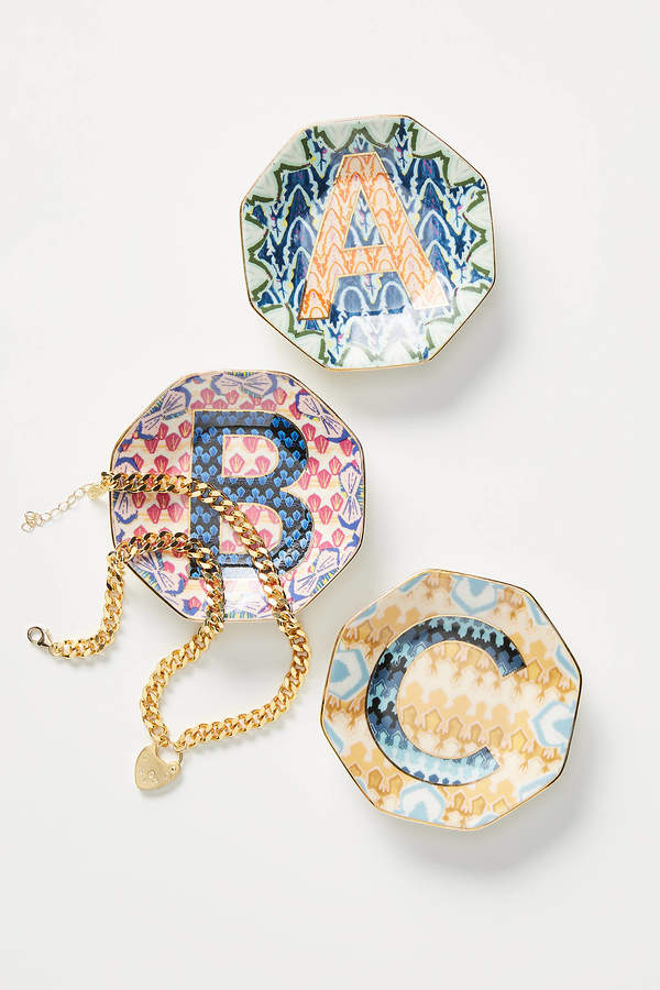 Anthropologie Chevron Monogram Trinket Dish