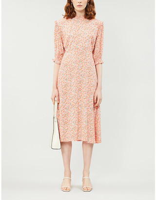Faithfull The Brand Pink Mathiola Floral Print Jean Marie Woven Midi Dress, Size: XS
