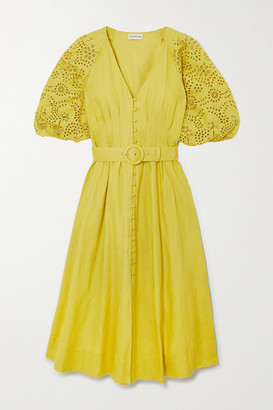 Nicholas Hasina Broderie Anglaise-trimmed Linen Midi Dress - Chartreuse
