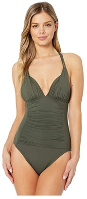La Blanca Island Goddess Halter One-Piece (Olive) Women's Swimsuits One Piece