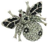 PYNK JEWELLERY Black Diamond and Jet Swarovski Crystal Bee with Flowers Brooch Pendant