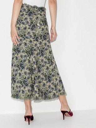 yuhan wang Signe floral-jacquard midi skirt