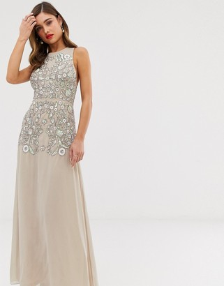 Frock and Frill maxi dress with embellished detail-Beige