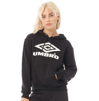 Umbro Womens Projects Classic Over The Head Hoodie Black/White