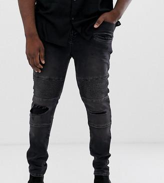 Asos Design DESIGN Plus Super Skinny Jeans With Abrasions In Biker Style-Black