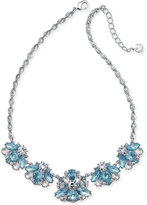Charter Club Silver-Tone Blue & Clear Crystal Statement Necklace, Created for Macy's