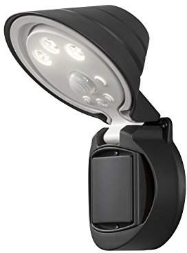 Konstsmide 7695-750 Prato Battery Operated Security Wall Light/High Power 3 x 0.5 Watt LEDs/Adjustable Head/PIR Sensor-Motion Detector/Plastic Black