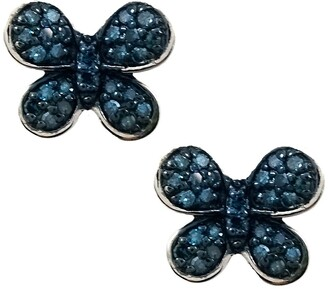 Savvy Cie Rhodium Plated Sterling Silver Blue Diamond Butterfly Stud Earrings - 0.25 ctw