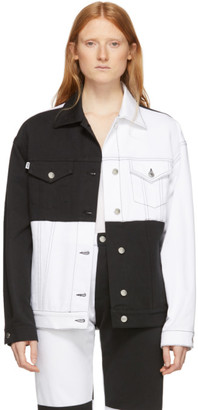 MSGM White and Black Denim Colorblocked Jacket