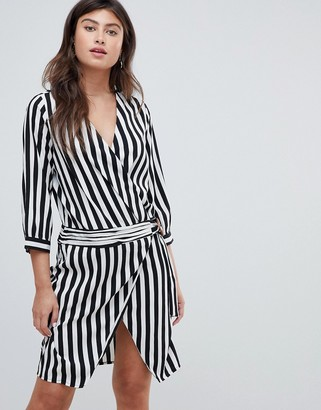 Vero Moda stripe wrap dress-Multi