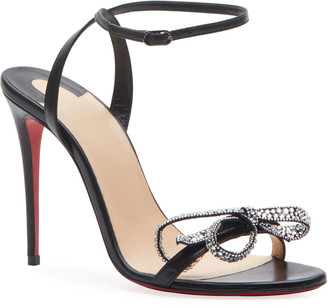 Christian Louboutin Jewel Queen 100 Strappy Bow Red Sole Sandals