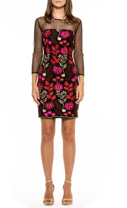 Alexia Admor Estelle Floral Embroidered Illusion Sheath Dress