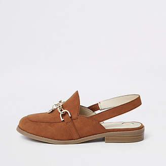 River Island Girls Brown chain backless loafers