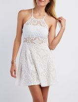 Charlotte Russe Lace Bib Neck Skater Dress
