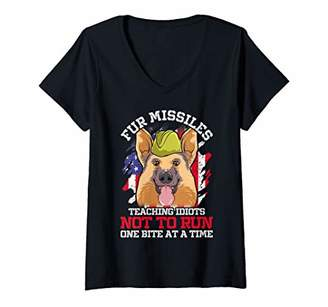 Womens Fur Missiles German Shepherd Police & Military Dog Fun Gift V-Neck T-Shirt
