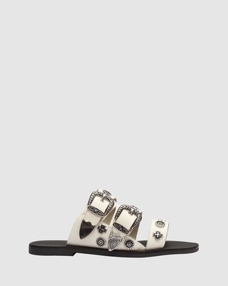 Sol Sana Women's White Flat Sandals - Eastwood Round Slides - Size One Size, 42 at The Iconic