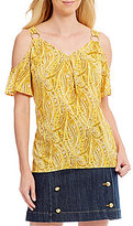 MICHAEL Michael Kors Hatcher Paisley Print Ring Detail Short Sleeve Cold Shoulder Top
