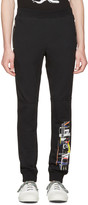Versace Black Graphic Logo Lounge Pants