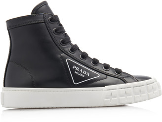 Prada Logo-Detailed Leather High-Top Sneakers