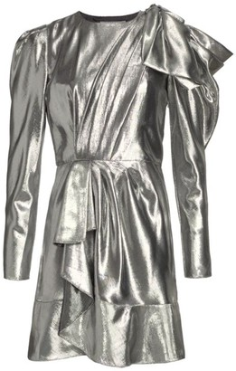 Alberta Ferretti Metallic Shoulder Bow Draped Dress