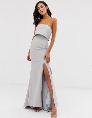 Jarlo bandeau overlay maxi dress in gray