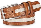 Johnston & Murphy Men's Linen/Leather Belt