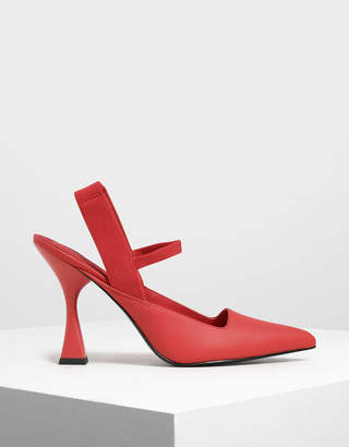 Sculptural Heel Slingback Sandals