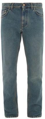 Burberry Logo-patch Straight-leg Jeans - Mens - Mid Blue