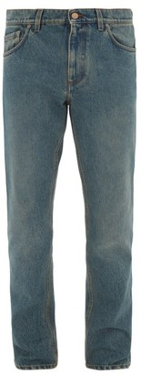 Burberry Logo-patch Straight-leg Jeans - Mid Blue