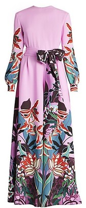 Valentino Orchid Jungle-Print Silk Wide-Leg Jumpsuit
