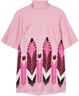Valentino Pink printed silk-twill blouse