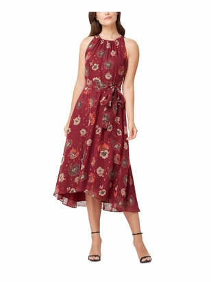 Tahari Womens Burgundy Tie Zippered Floral Sleeveless Halter Midi Fit + Flare Party Dress Size: 14