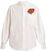 Toga Point-collar bead-embellished cotton-poplin shirt