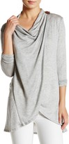 Bobeau One-Button Wrap Cardigan