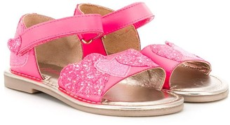 Billieblush Glitter Heart Applique Sandals