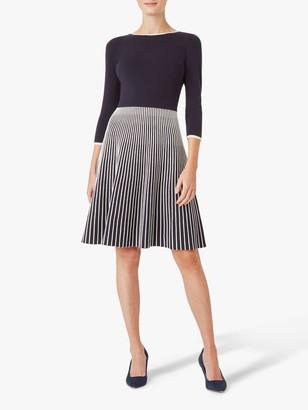 Hobbs Naomi Knitted Dress, Navy/Ivory