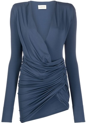 Alexandre Vauthier Front-Slit Draped Mini Dress